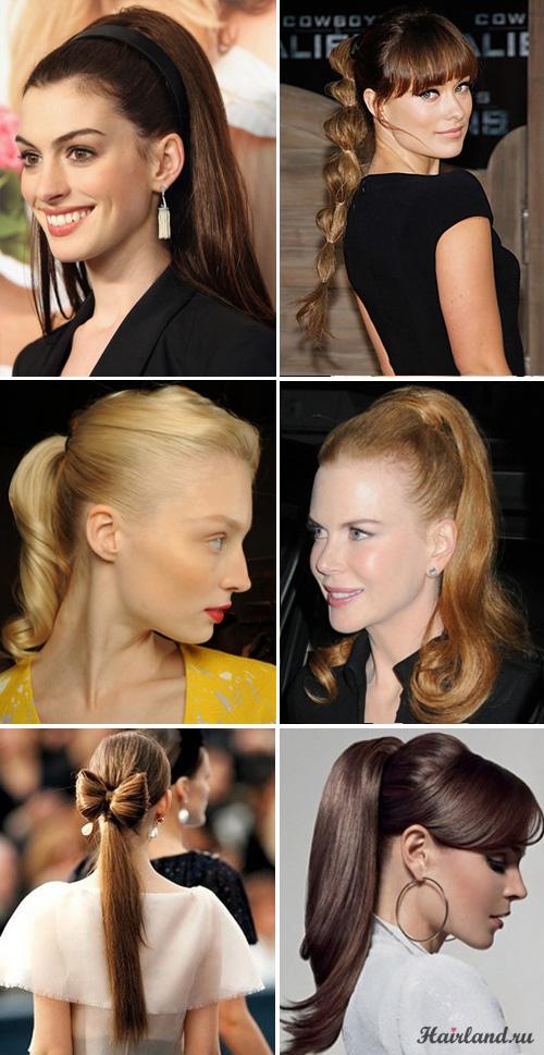 Выпускные прически на длинные волосы с хвостами фото