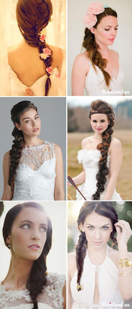 Свадебные прически с косами и косичками фото