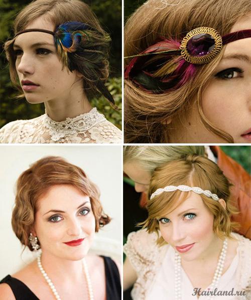Свадебные прически на короткие волосы в стиле ретро фото