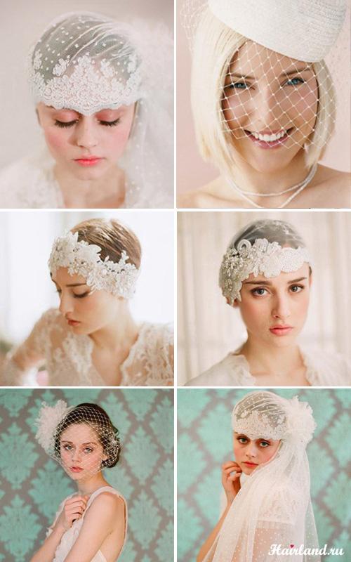 Свадебные прически на короткие волосы с фатой и шляпкой фото