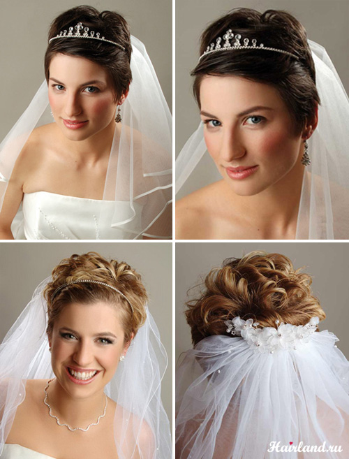 Свадебные прически с фатой на короткие волосы фото