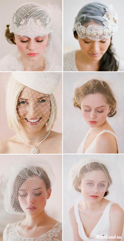 Свадебные прически с фатой на короткие волосы