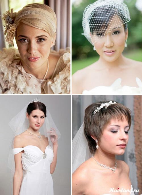 Свадебные прически с аксессуарами на короткие волосы