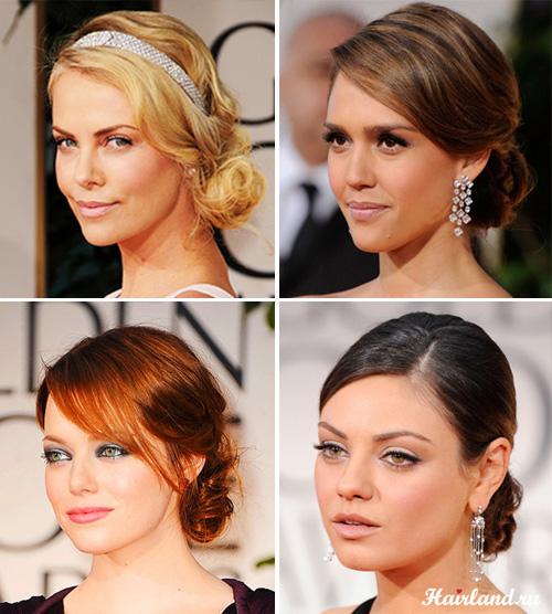 Женские прически на средние волосы фото, вечерние прически с низкими пучками