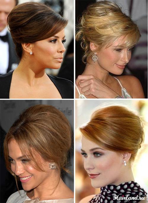 Женские высокие прически с начесом и бабетты на средние волосы фото