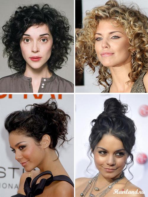 Прически для вьющихся волос средней длины, кудри