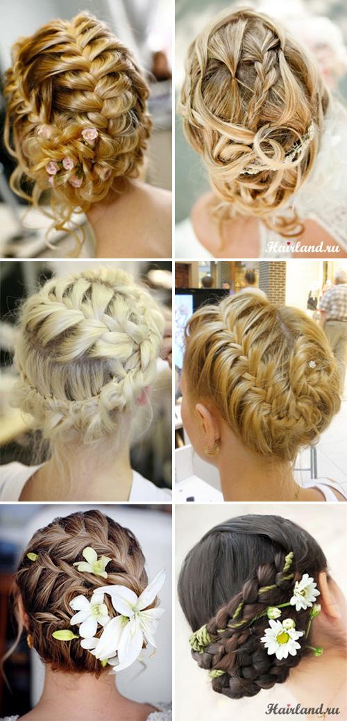 Свадебные прически с косами на средние волосы фото.