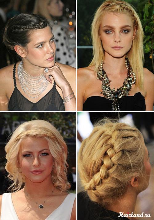 Прически с косами для волос средней длины, косы бохо