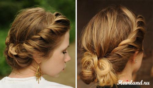 Прически с плетением для волос средней длины