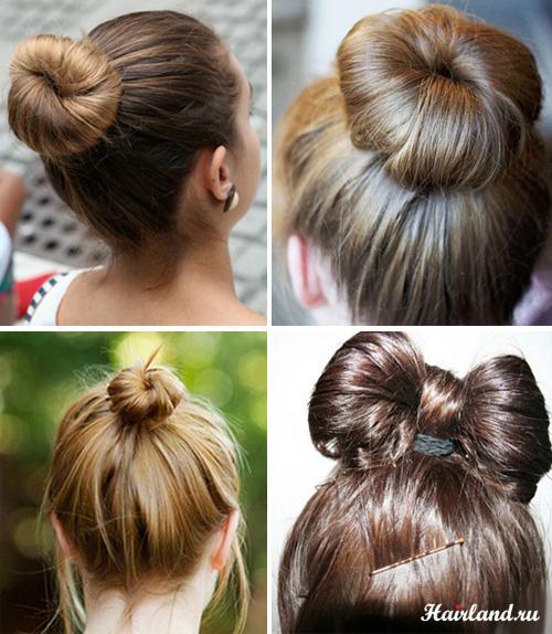 Прически для волос средней длины, пучки, бант из волос