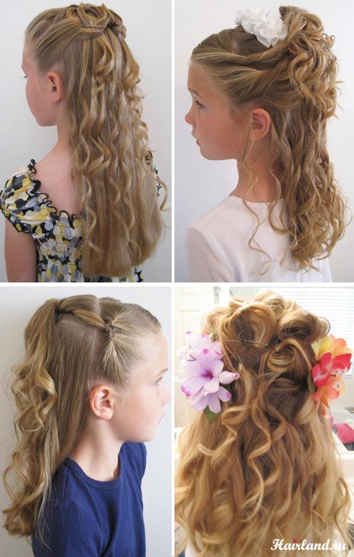 Прически с распущенными волосами и кудрями для девочек