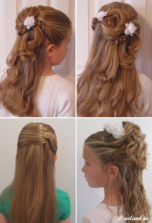 прически на длинные волосы первоклашке