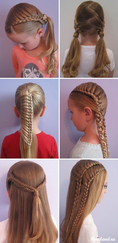 Детские прически на длинные волосы на основе кос фото