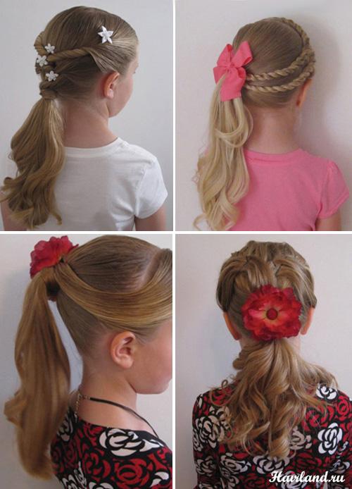 Детские прически на длинные волосы на основе хвостов фото