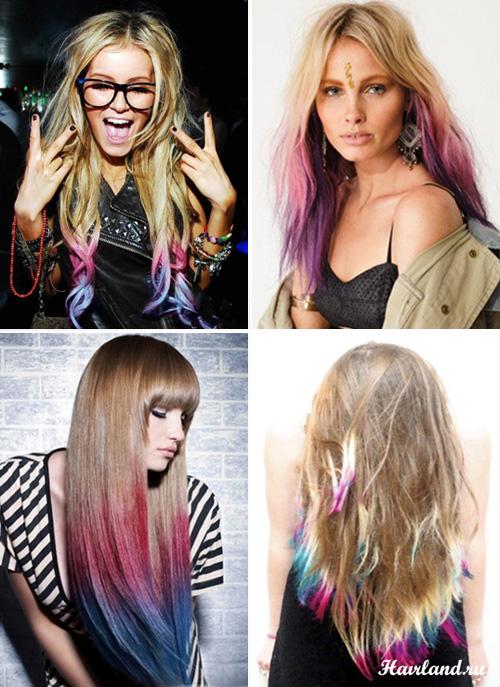 Колорирование светлых волос фото. Колорирование кончиков волос