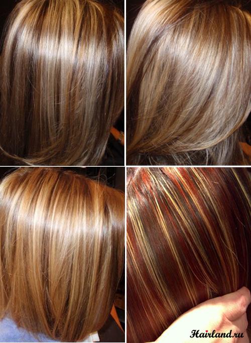 Балияж и колорирование темных волос несколькими оттенками фото