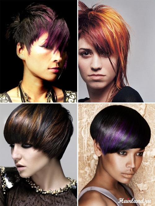 Колорирование коротких черных волос фото