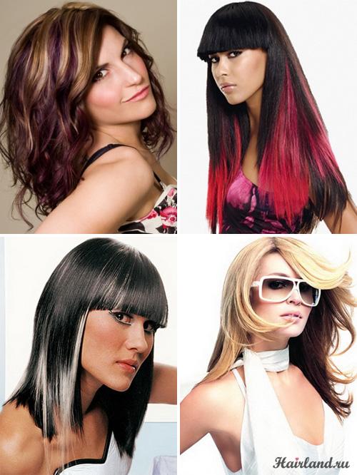 Колорирование темных волос светлыми белыми и розовыми прядками фото