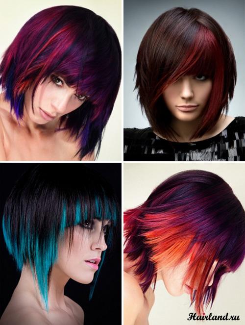 колорирование темных волос яркими цветами фото: голубой, фиолеовый красный