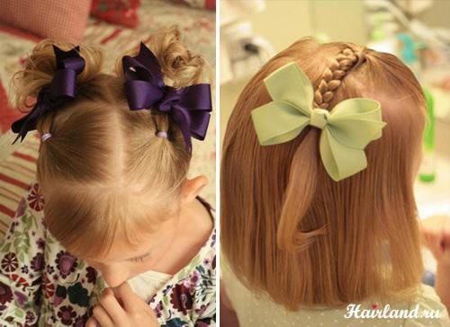 Праздничные прически для девочек на средние волосы фото