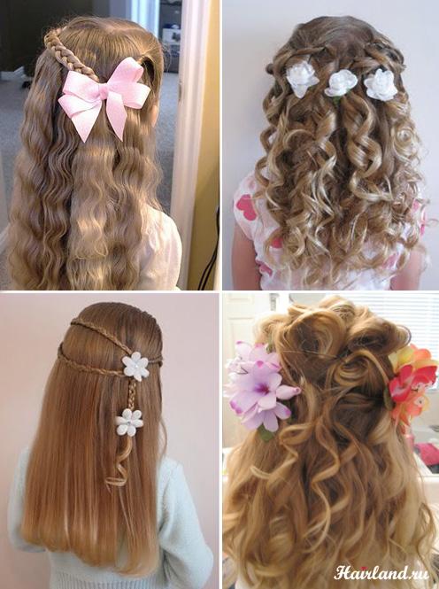 Прически с распущенными волосами и кудрями для девочек фото
