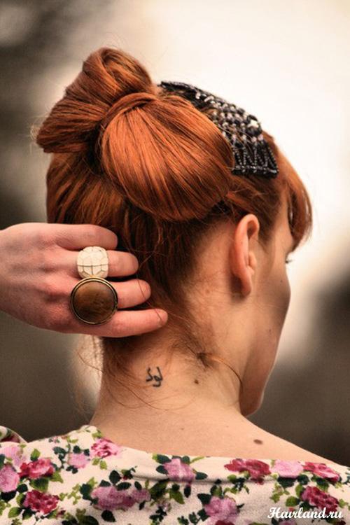 Прическа бант из волос