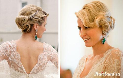 Свадебные прически на средние волосы 95 лучших фото вариант 78