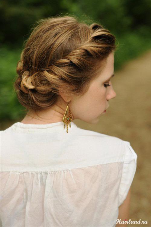 Полу коса вокруг головы, прически на каждый день