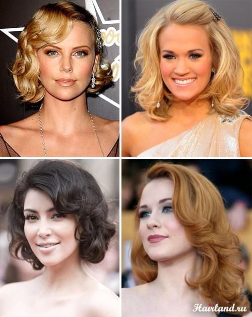Причёски для средних волос локоны