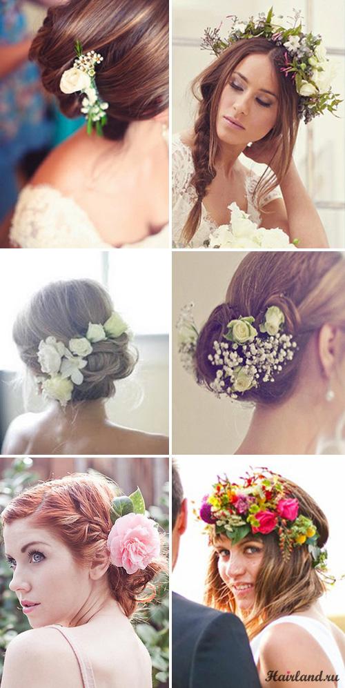 Свадебные прически с живыми цветами фото
