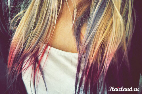 Яркое цветное колорирование кончиков волос новый тренд