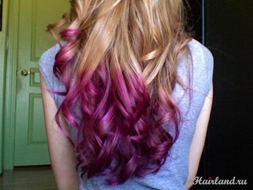 Цветное колорирование кончиков волос, розовый цвет