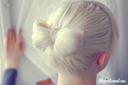 Цвет волос пепельный фото. Прическа бант из волос