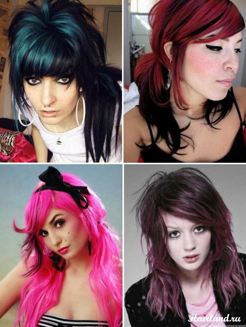 Эмо прически цветные прядки. Цвет волос для прически эмо