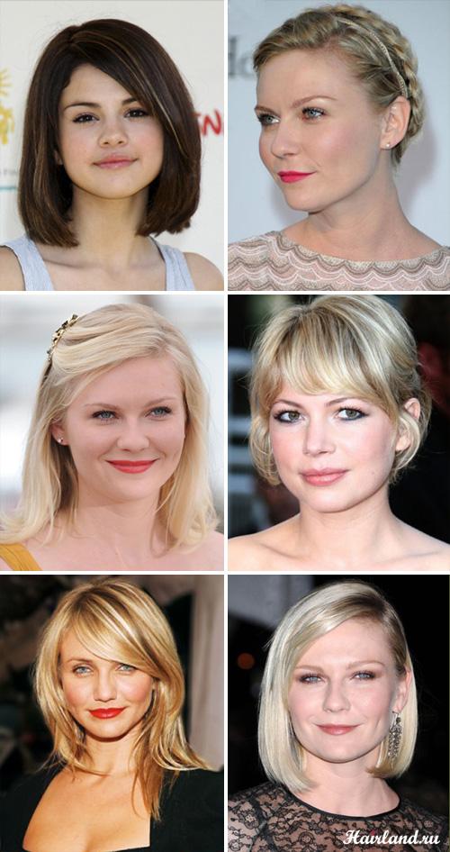 Прически средней длины волос для круглого лица фото