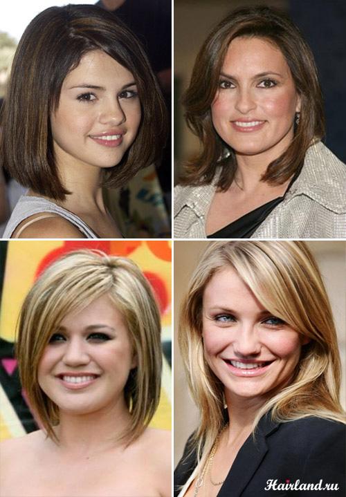 Средние стрижки для круглого лица и тонких волос