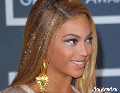 Блестящие нити для волос. Прядки из мишуры от Бейонсе