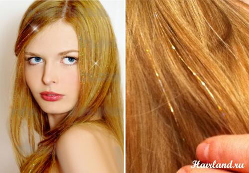 Блестящие нити для волос. Прядки из мишуры фото