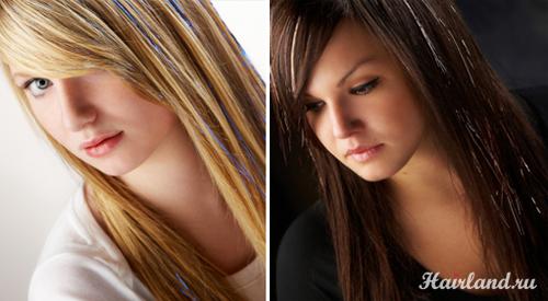 Блестящие нити для волос. Прядки из мишуры