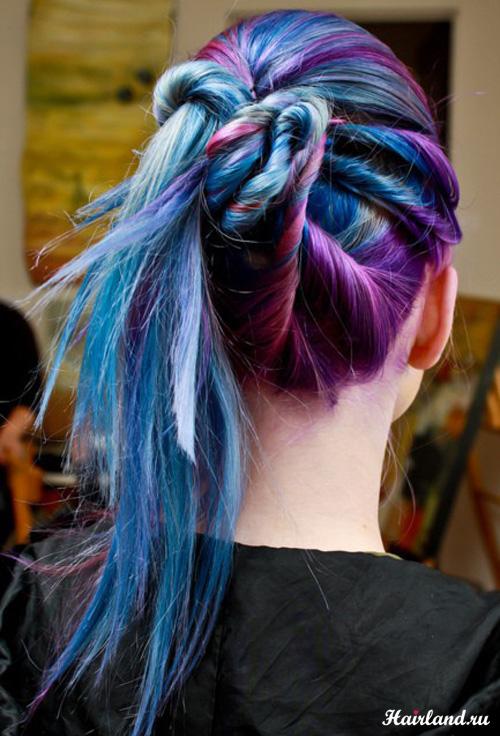 Колорирование волос фото 2012, фиолетовый и синий цвета