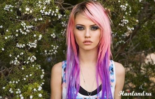 Колорирование волос фото 2012, фиолетовый и розовый цвета