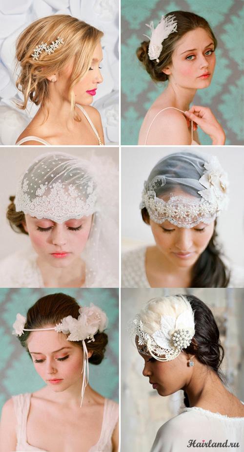 Свадебные прически на средние волосы с аксессуарами фото