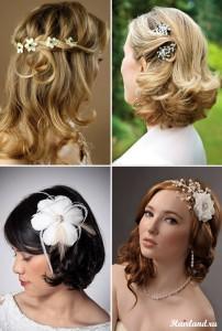 Свадебные прически на средние волосы. Укладки с распущенными волосами