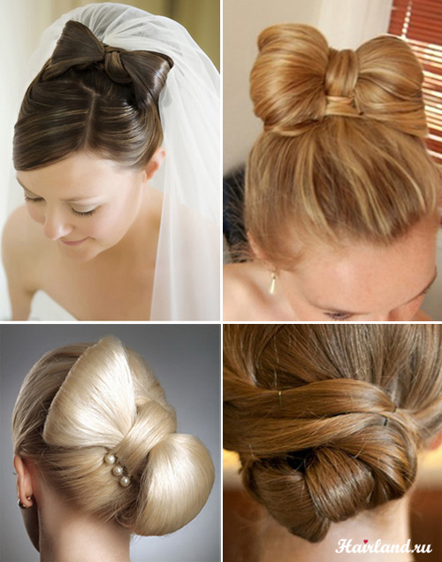 Свадебные прически на средние волосы. Прически бант из волос