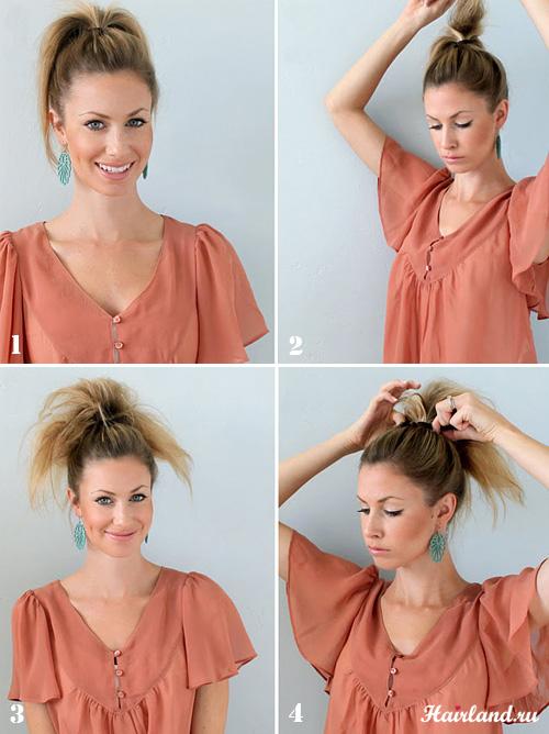 Пучок из длинных волос. Как сделать пучок на голове