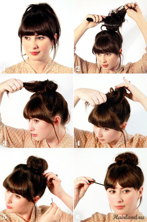 Как сделать пучок из волос своими руками фото