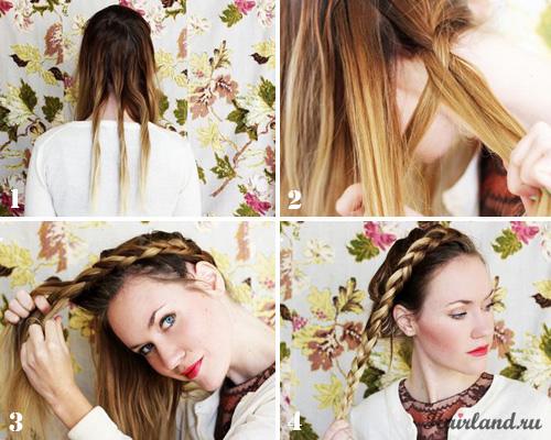 Как сделать косу вокруг головы своими руками поэтапно фото