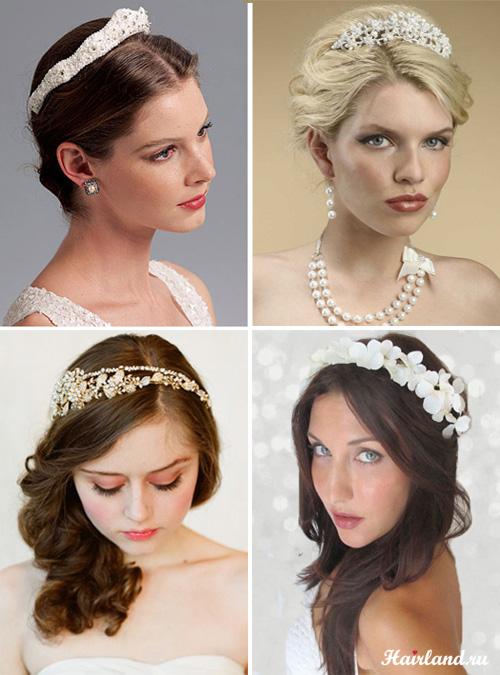 Свадебные прически с диадемами фото