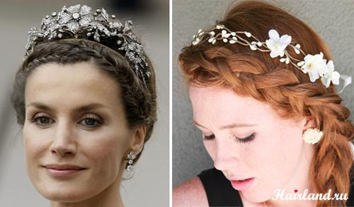 Свадебные прически с диадемой и косами фото