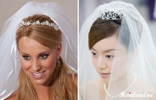 Свадебные прически с диадемой и фатой фото причесок